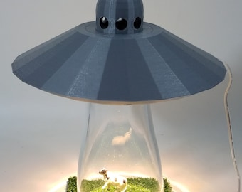 Silver UFO Alien Abduction Desk Lamp Sci Fi Spaceship Outerspace Space Bedroom Night Light Home Office *Choose Your Abductee*