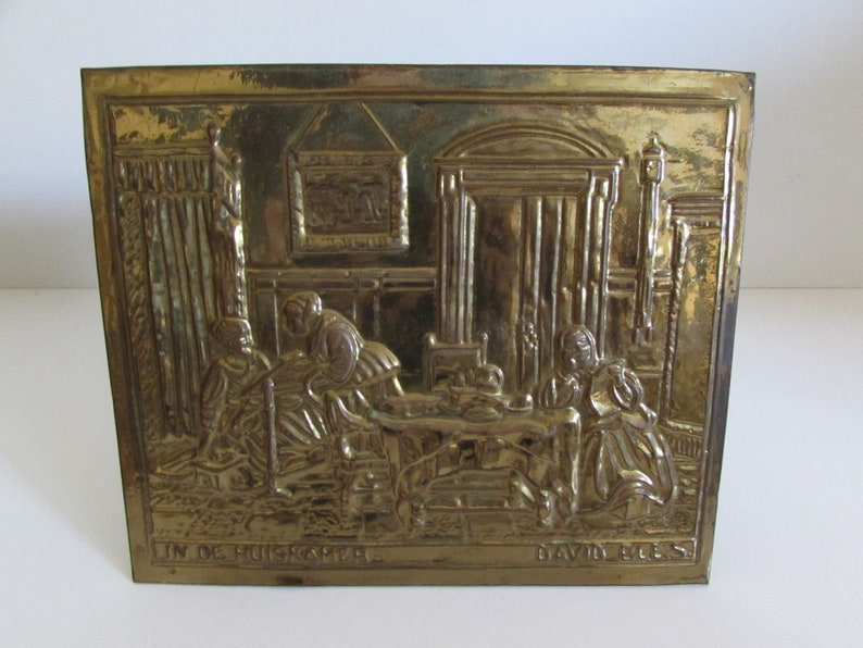 De Huiskamer Well.Brass Raised Relief Vintage Brass Raised Relief Wall Pocket Etsy
