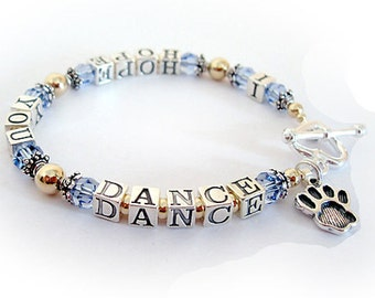I HOPE YOU DANCE Bracelet gold, .925 Sterling Silver & Swarovski Beads - Charms optional