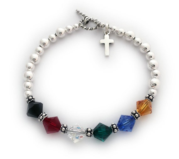 fast delivery newest really cheap Salvation Bracelet 8mm Swarovski & Sterling Silver Faith Bracelet with  Cross Charm