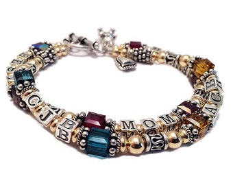 Best Mom Ever Bracelet 89 per string - you can add kids' birthstones and initials!