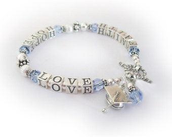 Graduation Bracelet with Graduation Cap Charm - Sterling Silver and Swarovski - FAITH HOPE LOVE