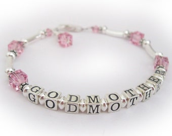 Godmother God Mother Bracelet with Birthstone Bead Charm Baptism and Religious Gift Ideas