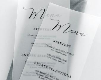 Vellum Wedding Dinner Menu Cards - Printed Colored Ink Vellum Menus - Vellum Menus For Reception Tables - Translucent Vellum Menus