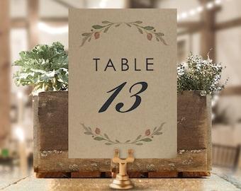 Rustic Kraft Wedding Table Numbers - Printed 4x6 or 5x7 Kraft Table Numbers for Frames - Rustic Table Number Wedding Table Numbers Floral