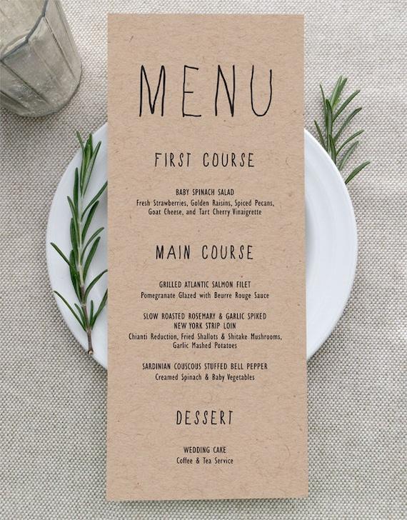 Printable menu card 4x9 Rustic wedding menu template Instant downolad Editable menu cards Kraft menu cards Minimalist Modern