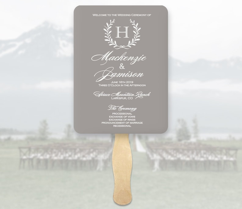 Gray Wedding Program Fans Monogram - Gray Wreath Wedding Program Fans -  Printed Ceremony Fan - Gray Cardstock White Ink - You Assemble