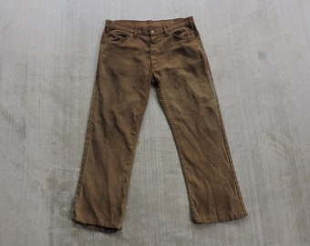 c93f95f1602 BEAT To HELL Rare Vintage 60s Faded Brown LEVI'S Big E Sta-Prest Pants 35X26
