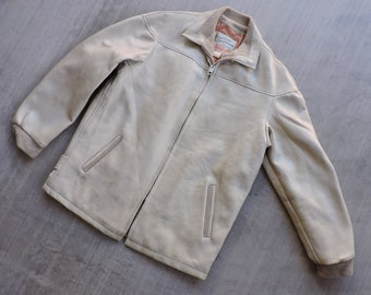 bedb98b78 BEAT To HELL Rare Vintage 50s Cream Vinyl Sperican Sportsman Car Club Jacket  M