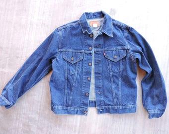 fefc01210 BEAT To HELL Rare Vintage 80s USA Made Levi s Dark Blue Indigo Denim Jean  Jacket 44 Work Wear
