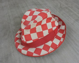 b3b4343f97bdd BEAT To HELL Rare Vintage 50s Red   White Check Hat S