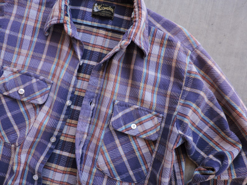 BEAT To HELL Rare Vintage Klondike Thick Faded Flannel Shirt L  USA Made