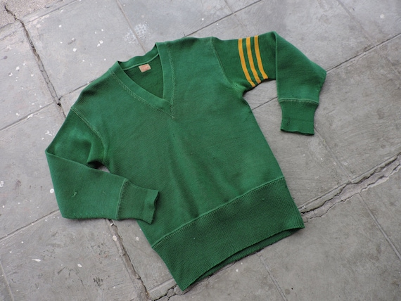 RARE Vintage 30s Burk & Co. Green with  Yellow Str