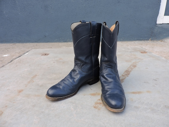 RARE Vintage Leather Justin Navy Blue Cowboy Boots