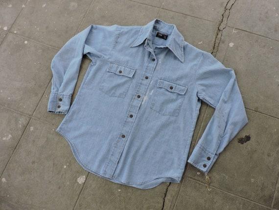 Rare Vintage Penneys Blue Chambray Shirt L