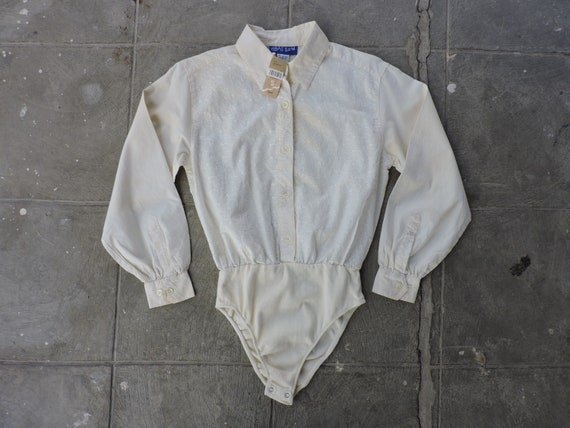 RARE Vintage 90s Deadstock Off-White Button Up Leo