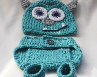 Crochet Monster Hat, Diaper Cover, and Booties set PATTERN. 0-3, 3-6, 6-12 months. Photo Prop. - PATTERN ONLY