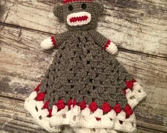 6ae84c211 Crochet Pattern Set. Monkey Lovey Blanket. Work Sock Hat. Work