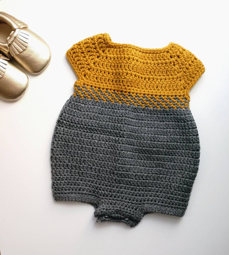 50dbd34f0335 Crochet Baby Romper Outfit Pattern. 0-3 3-6 and 6-12 months.
