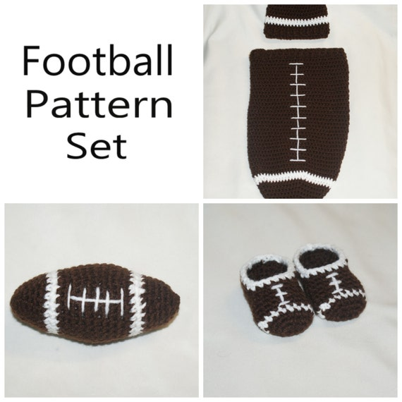 Crochet Football Newborn Cocoon And Hat Booties And Toy Etsy