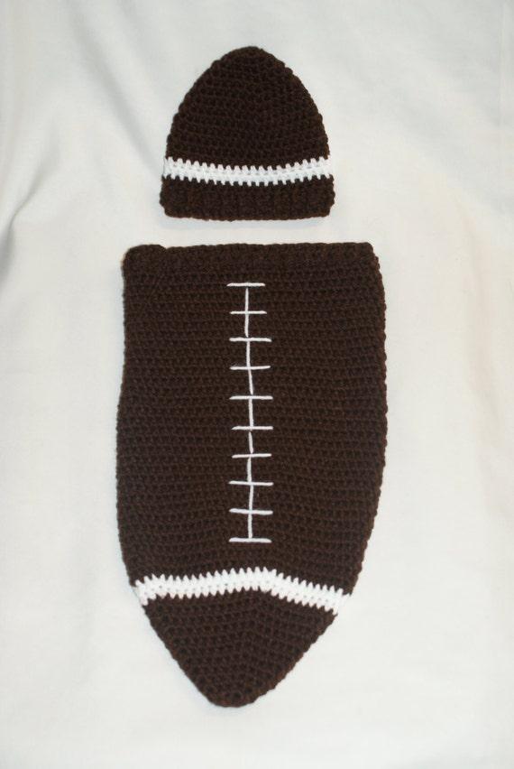 Crochet Football Cocoon and Hat PDF Pattern. Newborn.  b456fbda31b