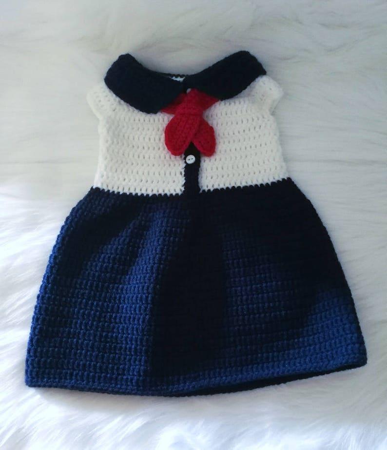 3fec60b51183 Crochet Baby Sailor Inspired Dress Pattern. Military. Costume.