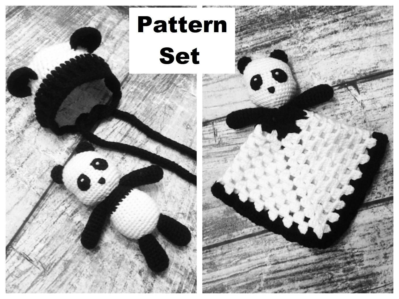 Oso Panda de ganchillo bonete y Lovey manta conjunto.   Etsy