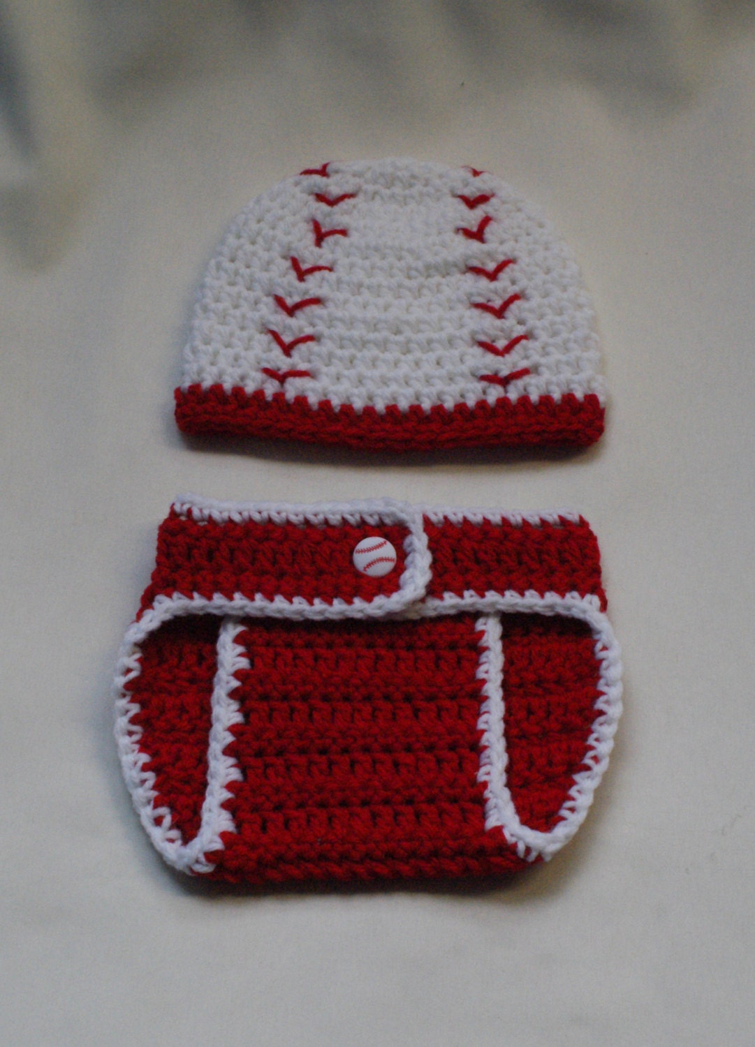 Crochet Baseball Hat and Diaper Cover PATTERN. Photo Prop. 0-3, 3-6 ...