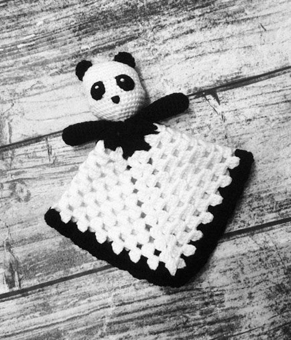 Ganchillo manta de Lovey de oso Panda. Panda de juguete. Manta del bebé.  Niño. -PATRÓN