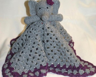 Crochet Elephant Lovey Blanket. Security Blanket. Baby Toy. Baby Gift - PATTERN ONLY