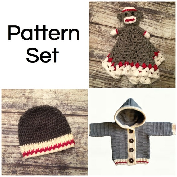 Crochet Pattern Set. Monkey Lovey Blanket. Work Sock Hat. Work  26c1228e719