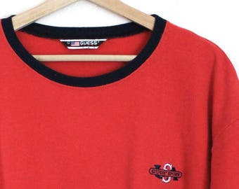 bc20341083a4 90s Vintage Guess Sport USA Knit T-Shirt Embroidered Red Classic T-Shirt  90s Guess Mens Size Large