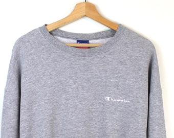 c5b4ca9427787 90s Vintage CHAMPION Crewneck Sweatshirt Champion Pullover Sweatshirt  Embroidered Champion Spell Out Champion Patch Gray Size Large