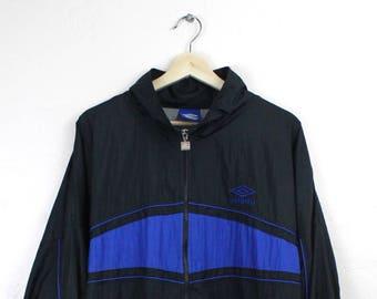 da66902680 90s Vintage Umbro Windbreaker Jacket Zip Up Jacket Nylon Jacket 90s Umbro  Soccer Jacket Black Blue Colorway Size XL