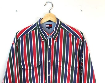 f993ba8e 90s Vintage TOMMY HILFIGER Button Down Shirt Vertical Striped Long Sleeve  Shirt Embroidered Tommy Crest Logo Red Green Blue Size XL