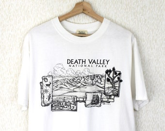 238bfb9cd 1999 Vintage Death Valley T-Shirt Death Valley National Park Graphic T-Shirt  Titus Canyon California Nevada Black and White Size Large