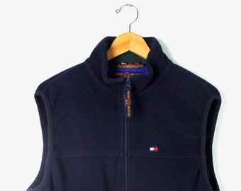 28cea25522918 90s Vintage TOMMY HILFIGER Fleece Vest Polartec Tommy Hilfiger Golf Zip Up  Embroidered Tommy Flag Navy Blue Size Medium