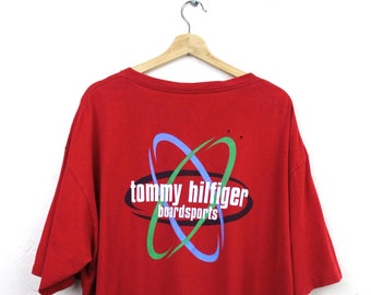 f12c86d9 Rare 90s Vintage Tommy Hilfiger Boardsports T-Shirt 90s Tommy Graphic T- Shirt Big Graphic Tommy Flag Made in USA Red T-Shirt Size XXL