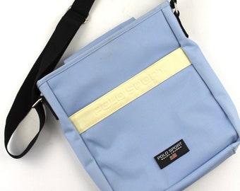 90s Vintage POLO SPORT Side Bag Vintage Ralph Lauren Polo Messenger Bag  Shoulder Bag Cross Body Spell Out Baby Blue Spacious Purse 67a97fe5ae4ac