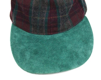 90s Vintage Plaid Wool Hat Strap Back Hat Maroon Plaid Wool Cap Teal Visor  Lake of the Isles Hat One Size 387ad651380