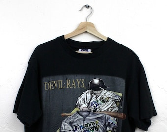 af08c303 90s Vintage NUTMEG MILLS Devil Rays T-Shirt Vintage Tampa Bay Devil Rays  Embroidered Graphic T-Shirt Black T-Shirt Size Large