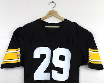 90s Vintage CHAMPION Steelers Jersey  29 Barry Foster Steelers Football  Jersey NFL Black and Yellow Size 40 38abee87ea1b6