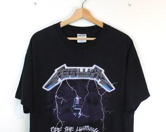6b5630023be1 1994 Vintage METALLICA T-Shirt 90s Ride the Lightning Album Double Sided Graphic  T-Shirt Metallica Band T-Shirt Black T-Shirt Size Large