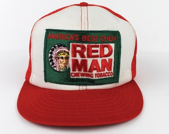 7f0d48e5f284e 80 s Vintage Red Man Tobacco Hat Red Man Chewing Tobacco Trucker Hat  Embroidered Patch Chew Tobacco Made in USA Red White One Size