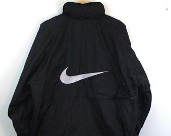 b11f9af09bf05 90s Vintage NIKE Windbreaker Jacket Zip Up Jacket Packable Hood Big  Embroidered Swoosh Logo Black Nike White Tag Made in USA Size Large