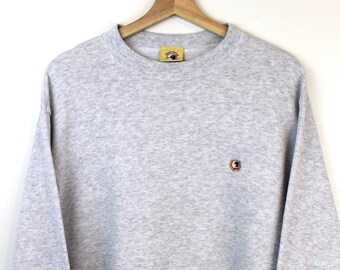 93c94e435e7 90s Vintage DUCK HEAD Crewneck Sweatshirt Pullover Sweatshirt Embroidered Duck  Head Logo Heather Gray Women s Size XL