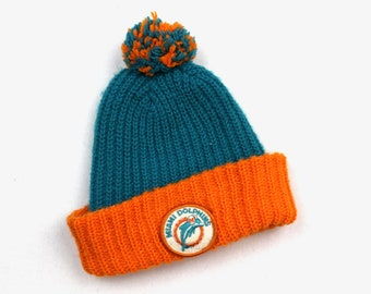 90s Vintage MIAMI DOLPHNS Beanie Knitted Beanie Pom Pom Beanie Embroidered  Dolphins Football NFL Winter Hat Teal Orange Adult One Size 96118c8cd