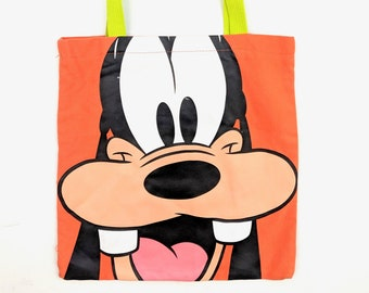 d6be03bd8a9 90s Vintage DISNEY Tote Bag Goofy Disney Character Shoulder Bag Walt Disney  World Florida Orange Neon Green One Size