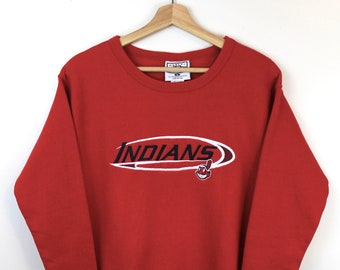 fca975f4 90s Vintage INDIANS Crewneck Sweatshirt Cleveland Indians Pullover  Sweatshirt Baseball Lee Sport Made in USA Red Sweatshirt Women Size Small
