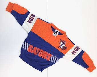 776813cfcf5 KIDS | 80s Vintage GATORS Sweatshirt University of Florida Gators Pullover Sweatshirt  UF Gators Color Block Orange Blue Toddler Kids Size 3T